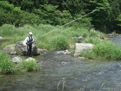 入間川のアユ釣り